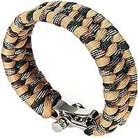 TOOGOO(R) Cuerda de paracaidas de hebilla ajustable Pulsera cuerda de paracaidas de supervivencia Silbato hebilla Nuevo Camuflaje