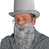 Rabbi Bart grau Rabbiner Vollbart Falscher Judenbart mit Schnurrbart Juden Herrenbart mit Mustache Amish Herren Kunstbart Religion Jüdischer Priester Faschingsbart Opa Karneval Kostüm Zubehör