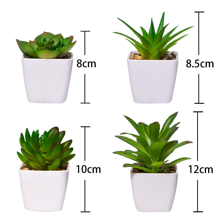 Yhmall 4pcs Plantas Artificiales Decorativas De Suculentas Grasas Con Piedras Pequeños Mini Decoración Con Macetas Plásticas De Interior Jardín