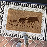 Personalised Elephant Family Door Mat - Unique Gift for Family & New Parents - Customised Indoor & Out