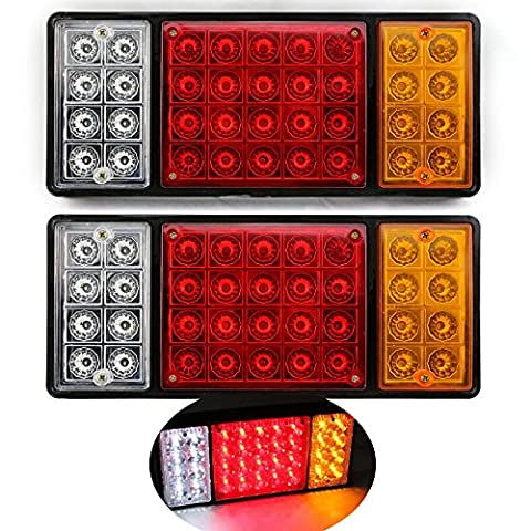 HQS® 2 x Waterproof LED TRUCK Trailer Tail Light Stop Rear Turn Indicator Reverse Lamp