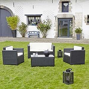 Salon de jardin en r sine tress e noir canap 2 for Salon de jardin amazon