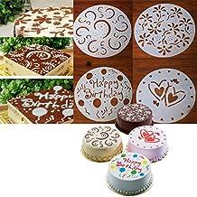 4 x Plantillas para Tarta Pastel Molde Flor Corazón Cumpleaños arte ...