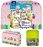 TCM Tchibo Spielgeschirr Set im Koffer Kinder Geschirr 14tlg. Rosa Cup Cake Motiv