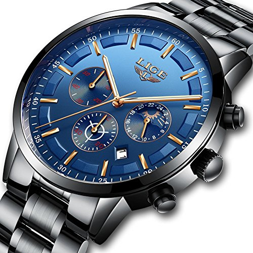 Relojes hombres Deporte Impermeable Acero inoxidable Analógico Reloj de cuarzo Hombres Marca de lujo LIGE Moda Cronógrafo Fase lunar Reloj de pulsera con Azul negro