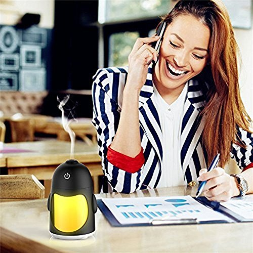 Brezzycloud Mini Cool Mist Humidifier with 7 Color LED night Light Quiet Humidifier with Timed auto shut Off for Office Baby Room or Car