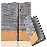 Cadorabo Hülle für Samsung Galaxy Note 3 NEO - Hülle in HELL GRAU BRAUN – Handyhülle mit Standfunktion und Kartenfach im Stoff Design - Case Cover Schutzhülle Etui Tasche Book