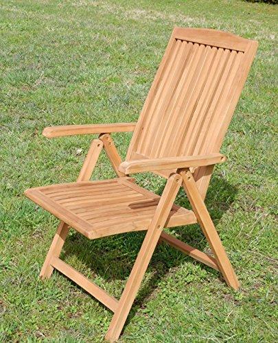 AS-S TEAK Design Hochlehner Gartensessel Gartenstuhl Sessel Holzsessel Klappsessel Gartenmöbel Holz sehr robust Modell: TOBAGO von AS-S