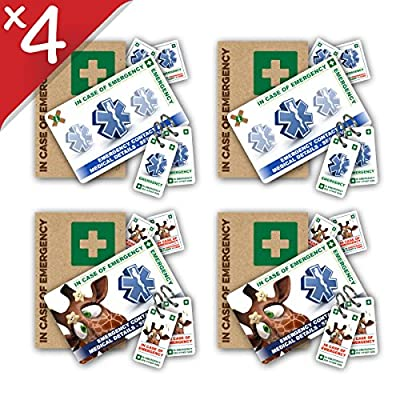 FAMILY BUNDLE -- TWO Standard PLUS TWO Giraffe In Case of Emergency (I.C.E.) Card Packs with Key Rings & Stickers from ICEcard. Wallet size card with WRITABLE reverse to carry Emergency Contact & Medical / Medication Information. by ICEcard