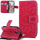 Für Samsung Galaxy S4 Mini Hülle Silikon,Galaxy S4 Mini Hülle Leder Flip Wallet,Galaxy S4 Mini Schutzhülle Leder PU Wallet Brieftasche Etui Schale,EMAXELERS Galaxy S4 Mini Hülle Blume Ledertasche Slim Retro PU Leder Handyhülle Tasche,Galaxy S4 Mini Hülle Elegant Retro Mandala Sunflower Prägung Muster Painted PU Leder Wallet Case Flip Cover im Bookstyle Handytasche Etui Handyhülle Brieftasche mit Standfunktion für Samsung Galaxy S4 Mini,Red Left and Right Sunflower