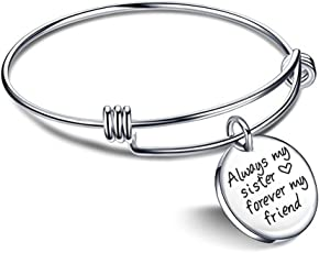 Yellow Chimes Sister Message Steel Collection Charm Bracelet for Girls (Silver)(YCSSBR-223SIS-SL)