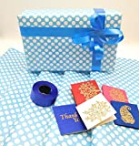 #7: Satyam kraft (Pack of 5) Gift wrapping paper sheets(25x18inch) for Baby Shower gift and Baby Boy Blue colour polka dot Paper WITH FREE Curling Ribbon & 5 Gift card / Gift Wrapping sheets especially for gifts for loved ones/baby shower return gift packing paper