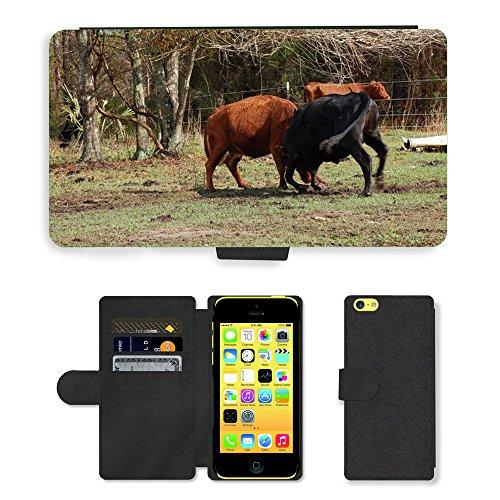 Just Mobile pour Hot Style Téléphone portable étui portefeuille en cuir PU avec fente pour carte//m00139052Vache Animal Mammifère Ferme de bovin lutte//Apple iPhone 5C