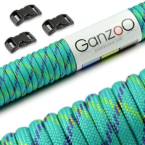 """Paracord 550 Seil Starter-Set mit 3 Klickverschlüssen für Armband, Knüpfen von Hundeleine oder Hunde-Halsband zum selber machen / Seil mit 4mm Stärke / Mehrzweck-Seil / Survival-Seil / mit 7 Kernsträngen / Parachute Cord belastbar bis 250kg (550lbs) / reißfestes Kernmantel-Seil / inkl. 3 Klickverschlüssenaus Kunststoff (3/8"""") / Erhältlich in vielen Grün und Gelb-Tönen, Marke Ganzoo (7, 30 Meter)"""