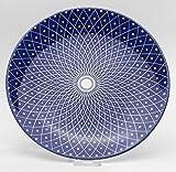 Kare Teller Blu Ora, Durchmesser 21,5 cm, Höhe ca. 2 cm, Material: Porzellan, spülmaschinenfest, mikrowellengeeignet, Geschirr im Retro-Design, Vintage-Look der 50er / 60er Jahre