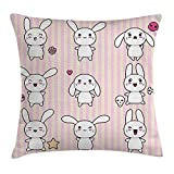 Kids Decor Throw Pillow Cushion Cover, Cute Bunny Rabbit with Skull Flower Star Figures on Striped Display Girls Print, Decorative Square Accent Pillow Case, 18 X 18 inches, Pink White