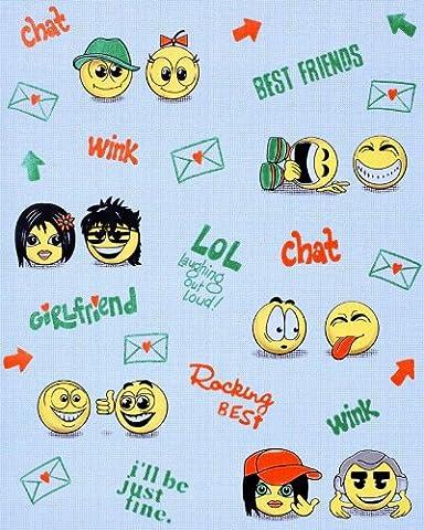 Papier peint Amusant Anime Manga EDEM 037-22 Tchat Smiley Jeunes Enfants fond bleu avec jaune vert rouge | 5.33 m2
