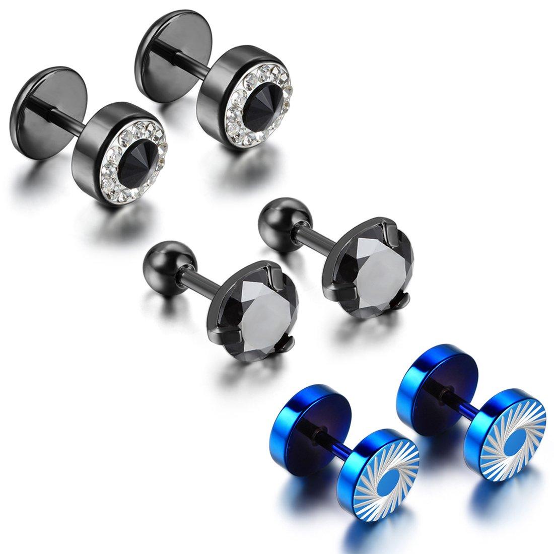 0154d718cc692 Cupimatch 6PCS Men's Stainless Steel Rhinestone Faux Illusion Stud Earrings  Ear Plugs Tunnel Set