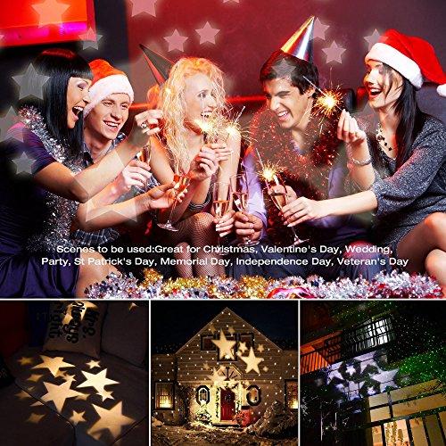 E-foxer Wasserdichte außen LED Weihnachtsbeleuchtung, 1Gartenleuchte LED Sternenhimmel Projektor, Mauer Dekoration, Party Licht, Gartenlicht für Festen, Weihnachten, Karneval (Warm White) - 4