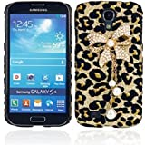 Leegoal Bling Diamond Bowknot Pearl gold Leopard Hard Case Cover For Samsung S4 i9500