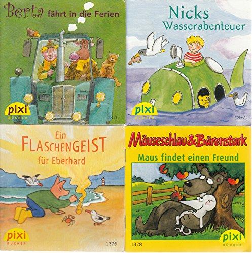 4 Pixi-Bücher aus Serie 154: Nr. 1375 Berta fährt in die Ferien; 1376 Ein Flaschengeist für Eberhard; 1377 Nicks Wasserabenteuer; 1378 Mäuseschlau & Bärenstark Maus findet einen Freund. -