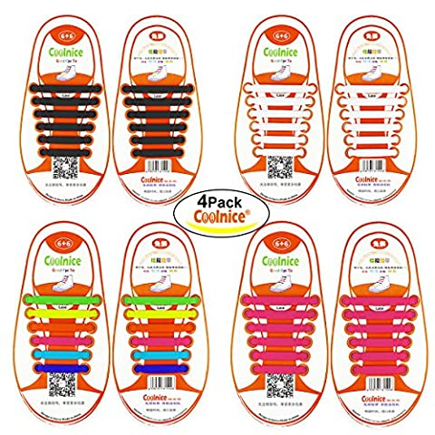 No Tie Shoelaces for Kids Funny DIY - Elastic Stretch Waterproof Silicone Wipe Clean-Running Shoe Laces with Multicolor for Sneaker Boots Board Shoes and Casual Shoes - 4 Pack