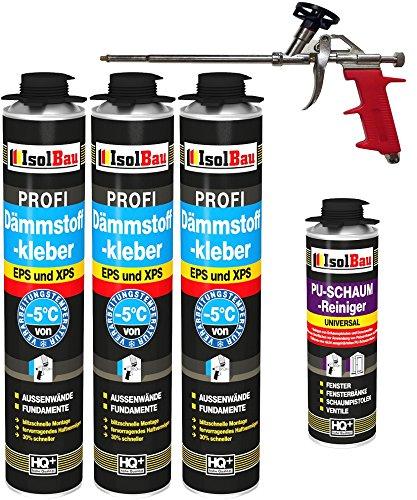 SET Dämmstoffkleber 3 Dose 750ml Klebeschaum Perimeterkleber Kleber für Dämmung + 1 Reiniger + 1 Schaumpistole