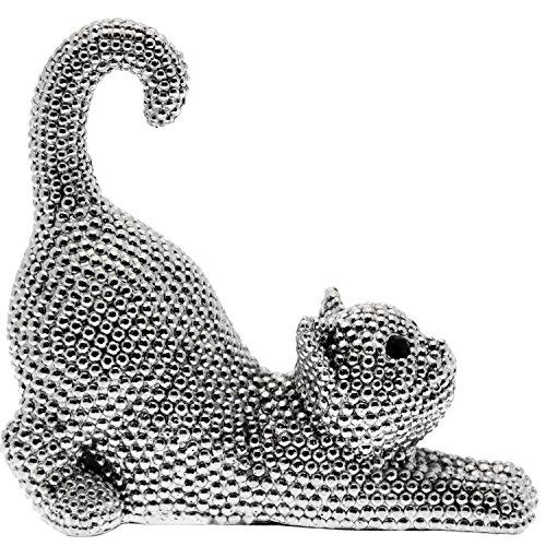 DonRegaloWeb - Figura de un gato de resina decorado en color plateado