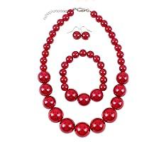 Shuny Set di Gioielli,Moda Stile Pearl Elastico Collana Braccialetto Dangle Earring Set, Collana di Perle, Bracciale di…