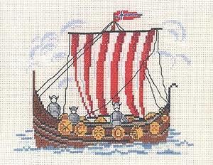Viking Kit de point de croix Motif bateau