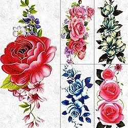 Tatuajes Temporales 3D Diy Gran Rosa Roja Tatuajes Temporales Pegatinas Cadenas Joyas Para Mujeres Niñas Arte Corporal Margarita Flor Impermeable Tatuaje Falso