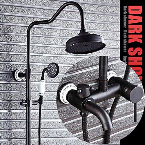 OOFAY TAPS@ GK-Duschsystem Top Regen Duschkopf + Handbrause Wasserhahn Set Wanne Auslauf Einhandgriff Drei Löcher Wandmontiertes Öl Rieb Bronze