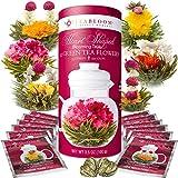 Teabloom Herzförmiger Blütentee – Geschenk-Set mit 12 zusammengestellten Blühenden Teeblumen - Grüner Tee + Jasmin, Granatapfel, Erdbeere, Rose, Litchi & Pfirsich - 9