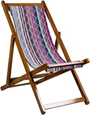 Surprise Interiors Tradional Folding Outdoor / Indoor Relax Chair Made in Teak Wood and Thick Cotton Towel Fabric