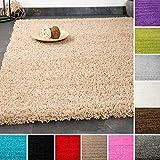 VIMODA Prime Shaggy Grau Hochflor Langflor Modern für Wohnzimmer Schlafzimmer Einfarbig, Maße:70x140 cm Teppich, Polypropylen,