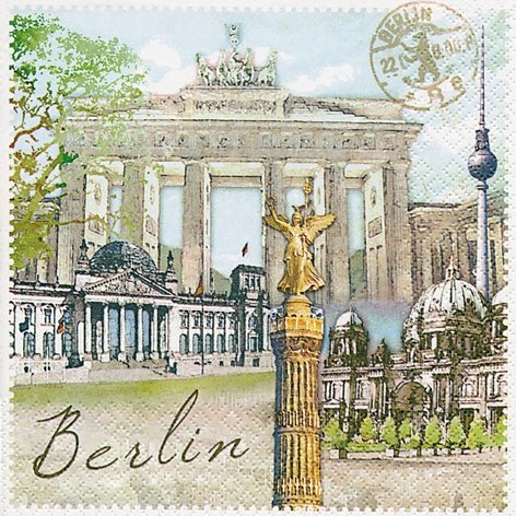 Pack of 20paper napkins 33x 33cm Deutschland Berlin Brandenburg Gate