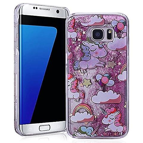 Samsung S7 Edge Case S7 Edge Cover SMARTLEGEND Bling Samsung Galaxy S7 EDGE PC Plastic Bumper Cartoon Unicorn Glitter Quicksand Ultra Thin Hard Back Cover Lightweight Protective Phone Case -Pink