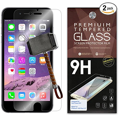 "iPhone 6 Plus Screen Protector [Set of 2] - 5.5"" – Ballistic Tempered Glass – Maximum Impact Protection – 99.99% Crystal Clear HD Glass – Cell Phone DIY® Protectors Kit - Iphone Screen Set Protector 6"
