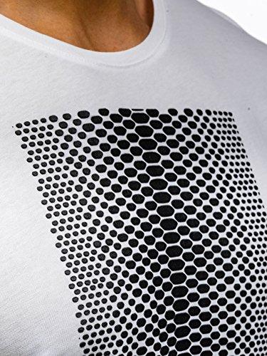 BOLF Herren T-Shirt Tee Kurzarm Rundhals Slim Fit Classic Party Casual 3C3 Motiv Weiß