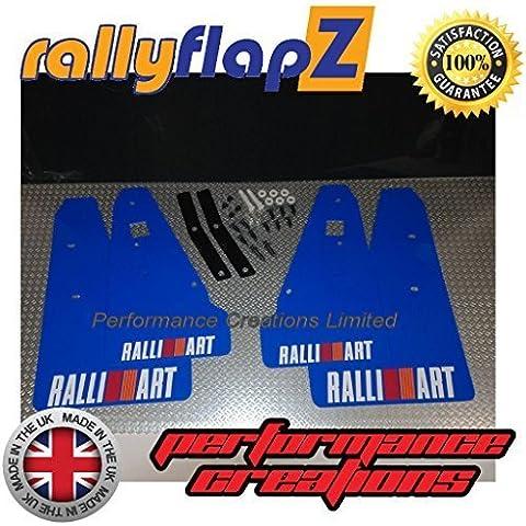 rallyflapZ Guardabarros para Mitsubishi Evolution X Evo 10 (2007-2015) Azul Ralliart Logo Blanco / R & O Rayas 3mm PVC