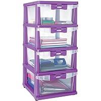 Nilkamal CHTR24 Four Layers Plastic Cabinet Purple Rectangular 14x17x33