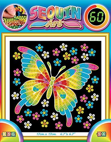 MAMMUT 8141325 - Sequin Art Paillettenbild Schmetterling, Steckbild, Komplettset mit Styropor-Rahmen, Bildvorlage, Pailletten, Steckstiften, Anleitung, Bastelset für Kinder ab 5 Jahre