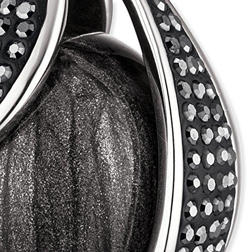 Engelsrufer Damen Himmelsträne Anhänger mit perlmuttgrauer Klangkugel 925er-Sterlingsilber rhodiniert besetzt mit 207 grauen Kristallen Größe 32 mm