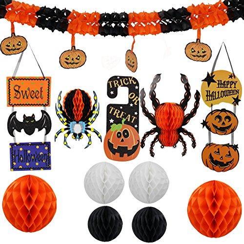 Halloween Girlande Kit 25cm Wabenkugeln Orange 2, 20 cm Wabenbälle White 2, 15 cm Waben Ball schwarz 2, Kürbisgirlande, Behandlung oder Trick Tür-Karten, kleine Spinnen eine große Spinne Einer FL