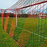 Fußballtornetz 7,5 x 2,5 m Tiefe oben 0,80 / unten 2,00 m, zweifarbig, PP 4 mm ø, schwarz / rot