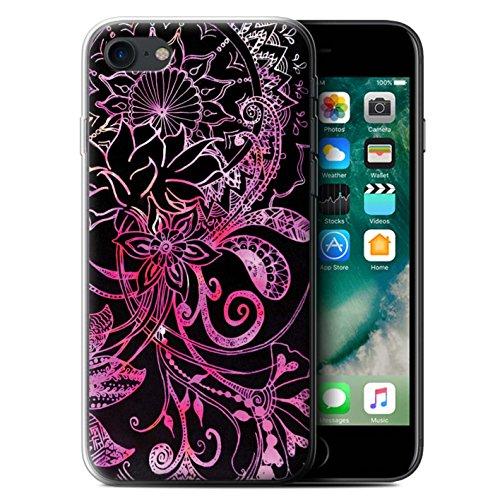 Stuff4 Gel TPU Hülle / Case für Apple iPhone X/10 / Weiß/Lila Muster / Henna Paisley Blume Kollektion Schwarz/Rosa
