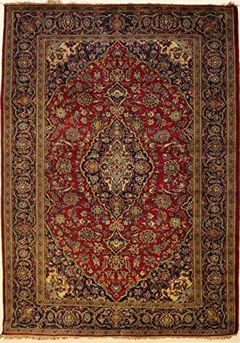 Rugstc 140 x 213 tappeto persiano pak alta qualità con pila in lana - fantasia tribal pak kashan persian   100% originale annodato a mano in rosso, blu & bianco   tappeto rettangolare 137 x 213 di alta qualità a doppio nodo
