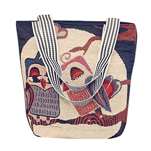 Retro Canvas Handtasche HARRYSTORE Damen Owl Printed Canvas Cartoon Handtasche Schultertasche Umhängetasche Damen Satchel Tote Bags (H) (Medium Gesteppte Tote)