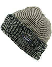 Thinsulate Fleece Lined Ribbed Beanie Hat with a Contrast Mix Turn-up