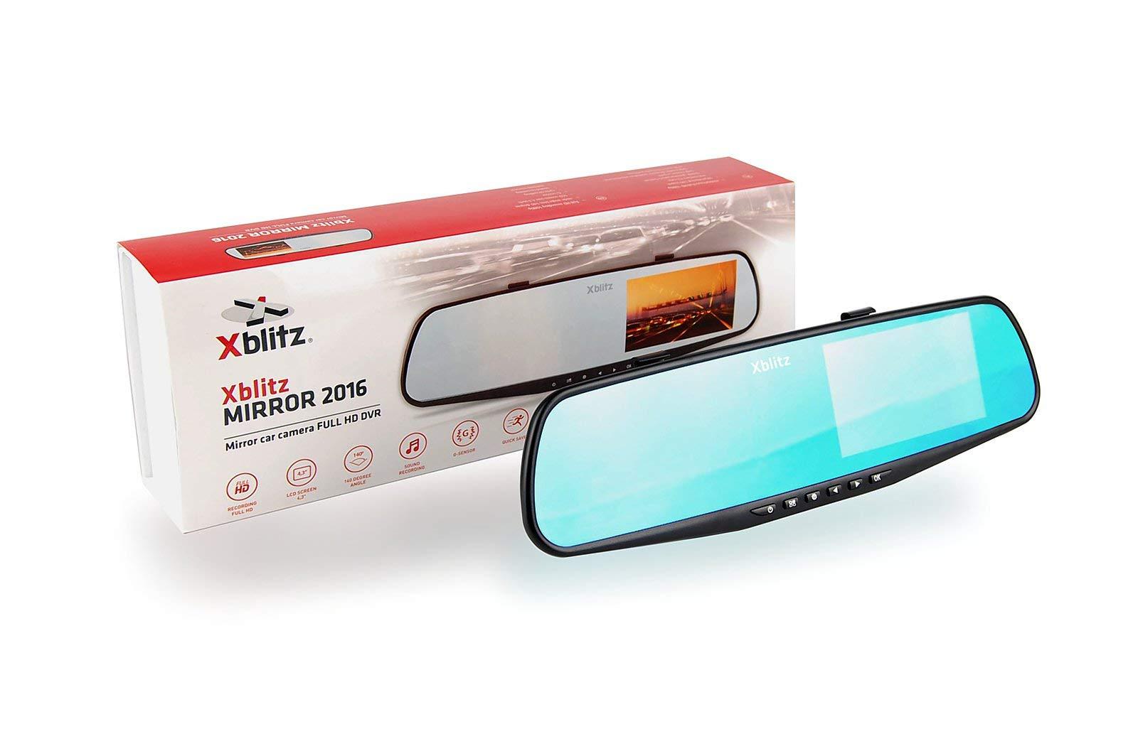 Xblitz-Mirror-2016-Autokamera-1920-X-1080p-Full-HD-4-3-Zoll-Bildschirm-G-Sensor-Eingebauter-Akku-Lautsprecher-und-Mikrofon-Bewegungsmelder-Schwarz